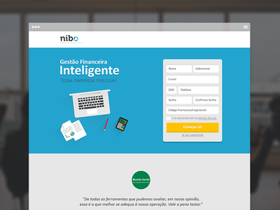 Nibo Landing Page web ui design flat nibo finances landing page