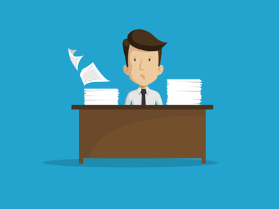 Paper and paper... flat illustration paper icon line vector sad character