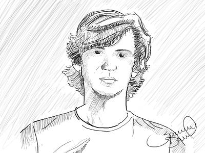 First Sketch - Self Portrait sketch wacom tablet self portrait draw pencil