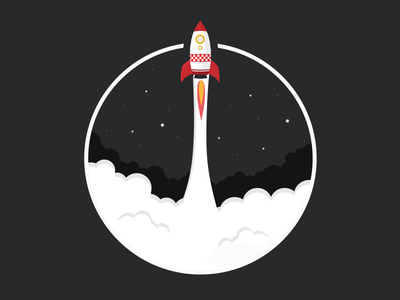 Rocket Launch icon launch black stars cloud sky rocket flat illustration