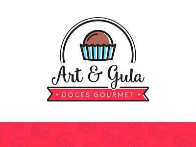 Art & Gula Logo Concept sweet gourmet brown red blue candy branding logo