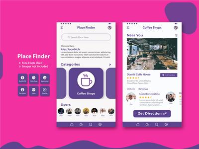 Place Finder Mobile App mobile application mobile app place finder app ux design vector ui