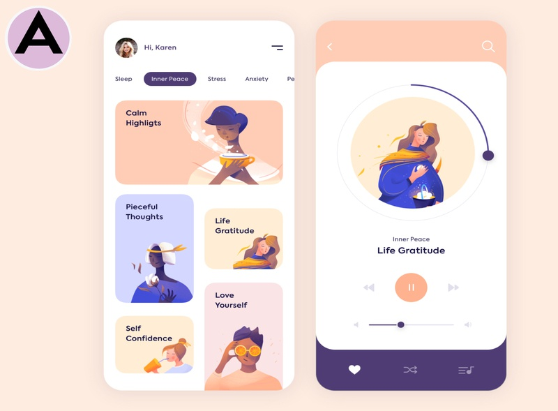 UI/UX Design For Mobile App - Mindfulness