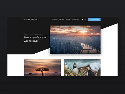 Superhuman — Blog website design startups themes snow carbon blog ghost
