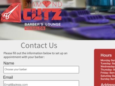 "Diamond Cutz ""Contact us"" page"
