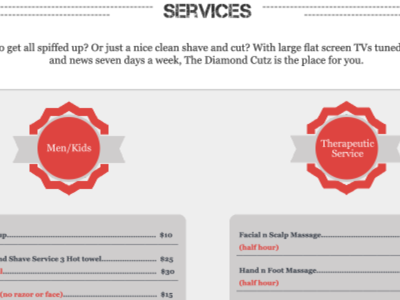 "Diamond Cutz ""Services"" page"