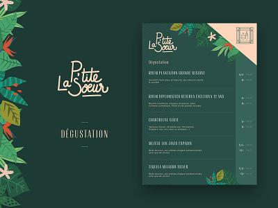 La Petite Soeur - Carte de Dégustation illustrations graphic ui paris restaurant carte drink food menu