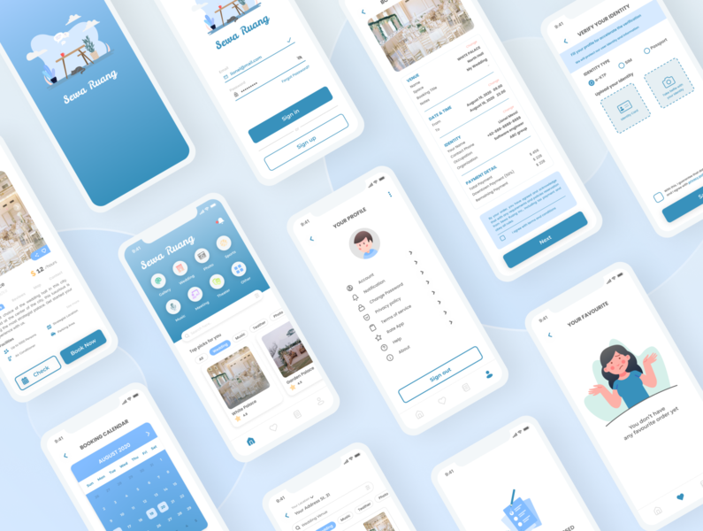 Sewa Ruang vector user interface illustration ui app mobile ui design figma