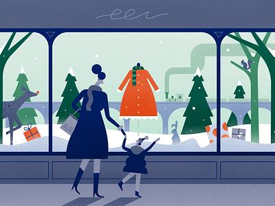 ❄️ Discover Wonders ❄️ squrrel child mother dress rabbit train snow presents deer green christmas winter