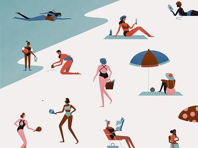 Andie Swim sun play beach pink summer illustration character texture vector