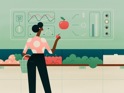 Food Waste woman shopping technology ui groceries fruit food ai green pink illustration character texture vector