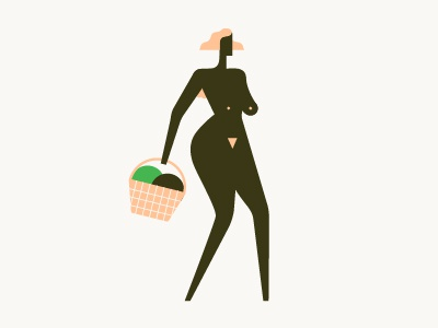 Festifeel cancer female hair walking basket illustration vector naked boobs melons woman character