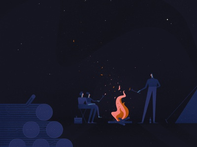 The Evening Sky evening wood vector character family camping stars night fire