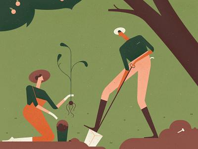 The Telegraph lawn fruit digging character vector tree green garden