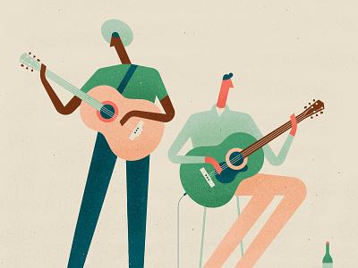 Jammin' men character vector music jamming texture guitar