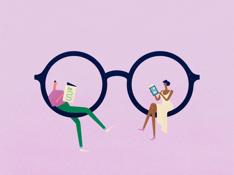 Read texture design vector character glasses fantasy read book