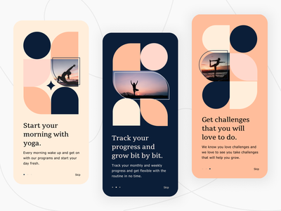 Yogic - Onboarding screens for a workout application fitness health yoga dashboard ui ux ui design
