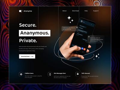 Anonyma - Landing for a Messaging Application motion graphics animation branding logo illustration graphic design glassmorphism dashboard ui design ux