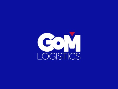 GOM Logistics New Logo Design new adobe illustrator blue idea logistics alphabet corporate branding design logo design logo
