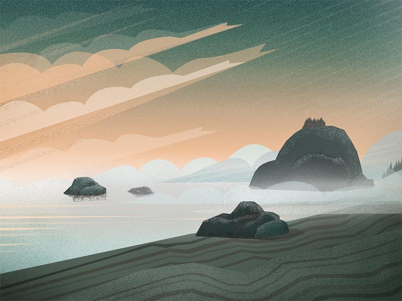 Coast fog travel water illustration california northern oregon coastline