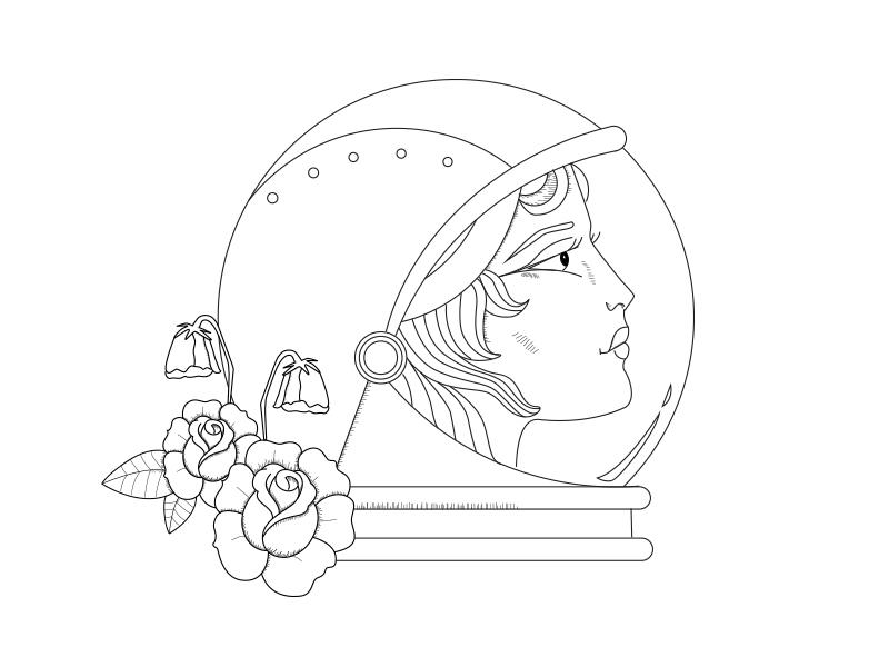 Astronaut roses astronaut design illustration