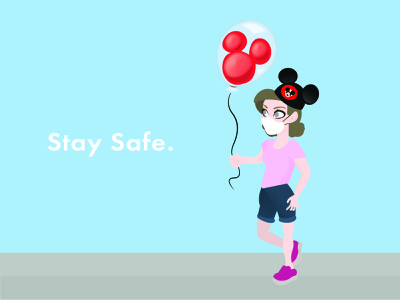 A Day at Disney Day 06 wear a mask happy friday illustration stay safe disney world wdw