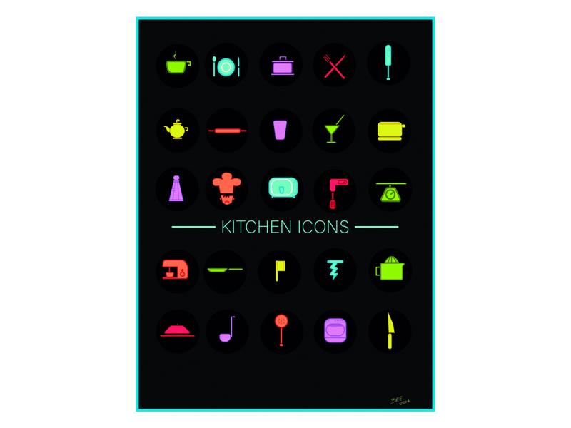 KITCHEN ICONS BLACK icono ilustración diseño