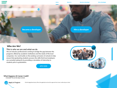Landing page for career credit