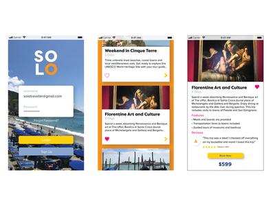 Solo Travel App (Alternative) packaging logo webflow sketch design trip planner flat app design trip vacation rental ux ui food art italy summer vacation solo travel
