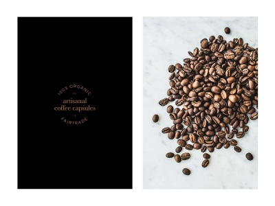Artisanal Coffee Capsules type lockup layout design coffee beans coffee capsules fairtrade organic typeface lettering minimal coffee letters type branding typography