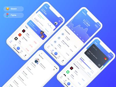 Banking App UI Kit figma sketch uplabs analytic refer referral invite profile bank card banking app banking bank payments payment app paypal payment pay cash back app cart bank app
