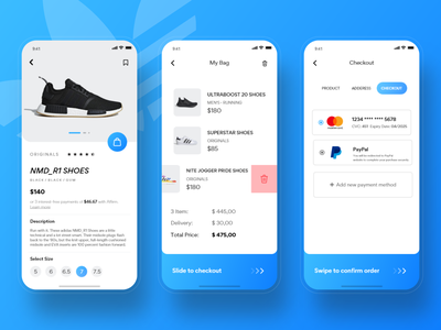 Adidas Originals Store App #2 ui shopping search shop uplabs product puma nike sneakers store online store checkout adidas