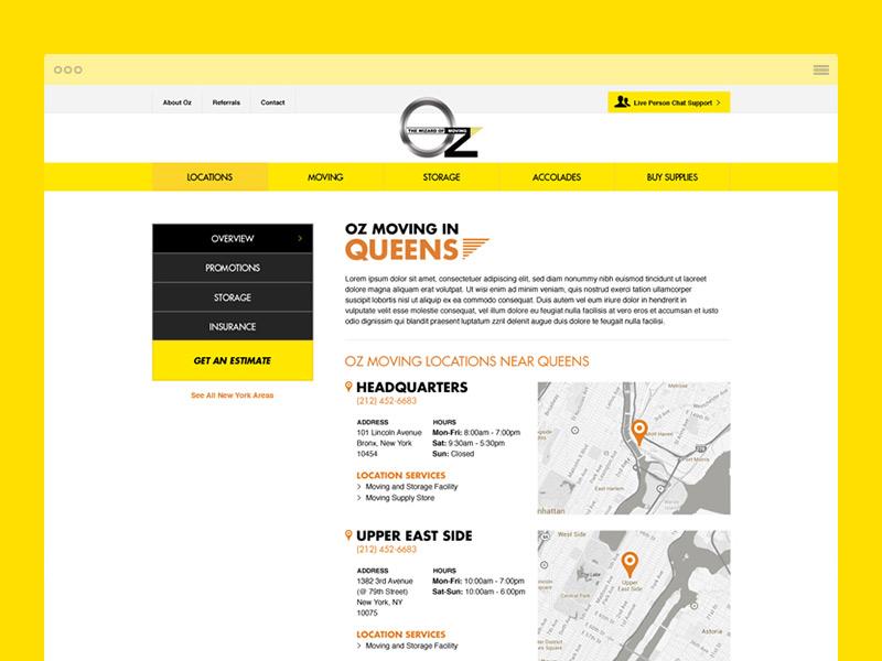 Oz Moving navigation locations sidenav yellow moving site