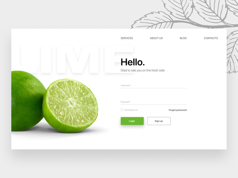 The Lime sign in page
