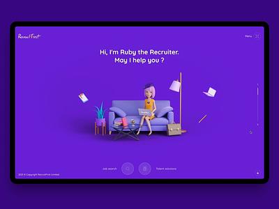 Recruit First Homepage agency motion graphics interactive fullscreen 3d landing wordpress creative animation