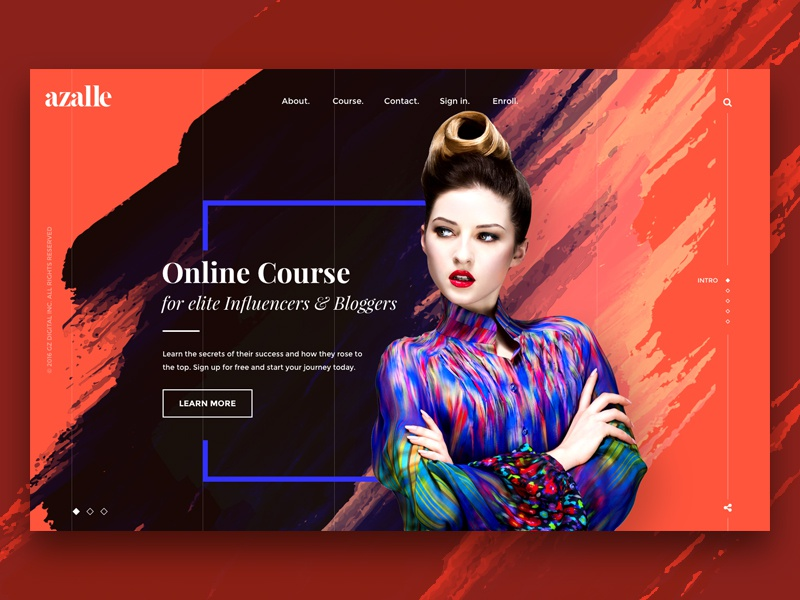 Azalle website concept web design sketch bloggers influencers concept fullscreen colorful