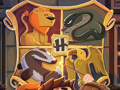 Hogwarts Crest potter illustration magic wand badger snake lion harry potter crest hogwarts