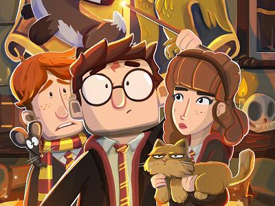 Harry Potter illustration magic hogwarts ron weasley hermione granger harry potter