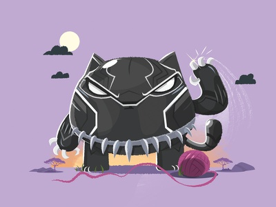 Cute Black Panther illustration super hero cat comics wakanda tchalla marvel black panther