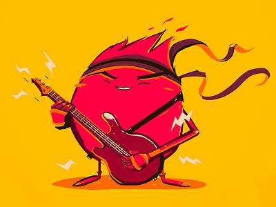 RockStar character illustration headband music yellow pink guitar rock