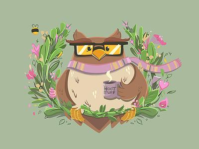 Hoot Stuff beak cartoon cup plants mothers day cute illustration bird glasses scarf hoot owl