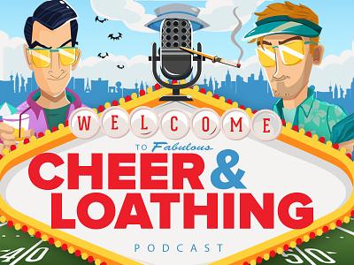 Cheer & Loathing Logo microphone logo huntersthompson nhl illustration podcast logo fearandloathinginlasvegas podcast