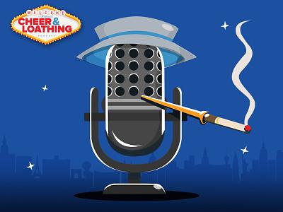 Hunter S Microphone illustration logodesign podcast logo microphone smoking vegas fearandloathinginlasvegas huntersthompson