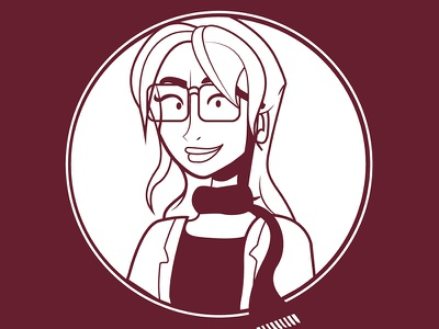 Maroon Woman scarf woman cartoon illustration character design character red maroon