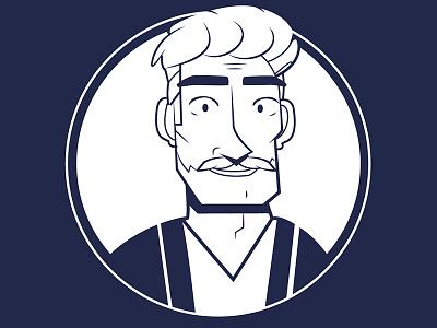 Navy Man illustration male character design moustache beard man blue navy