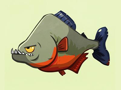 Piranha vector illustration fins teeth fish piranha