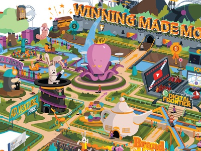 Theme Park infographic attractions teapot rabbit octopus illustration amusement park rides themepark