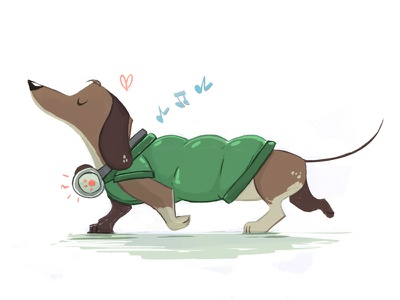 Sausage Dog cute headphones cartoon illustration sausagedog dogs dog