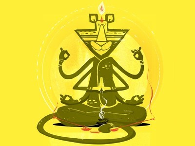 Peaceful Tigar Concept yellow cartoon illustration tigar meditation
