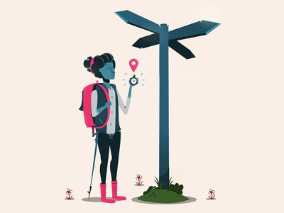 Sign Post backpack cartoon lost illustration woman trail camping hiker compass sign signpost cross roads